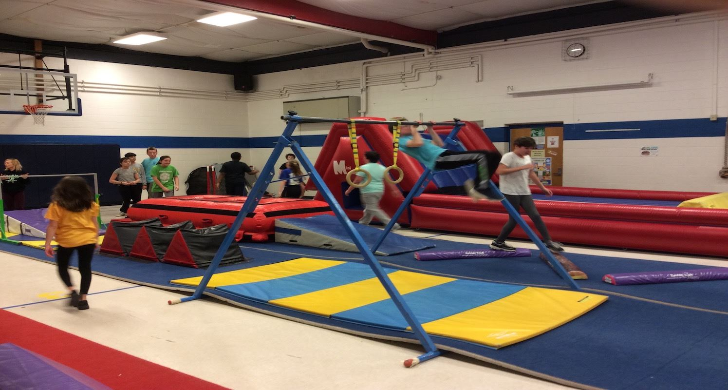 Students enjoying gymnastics